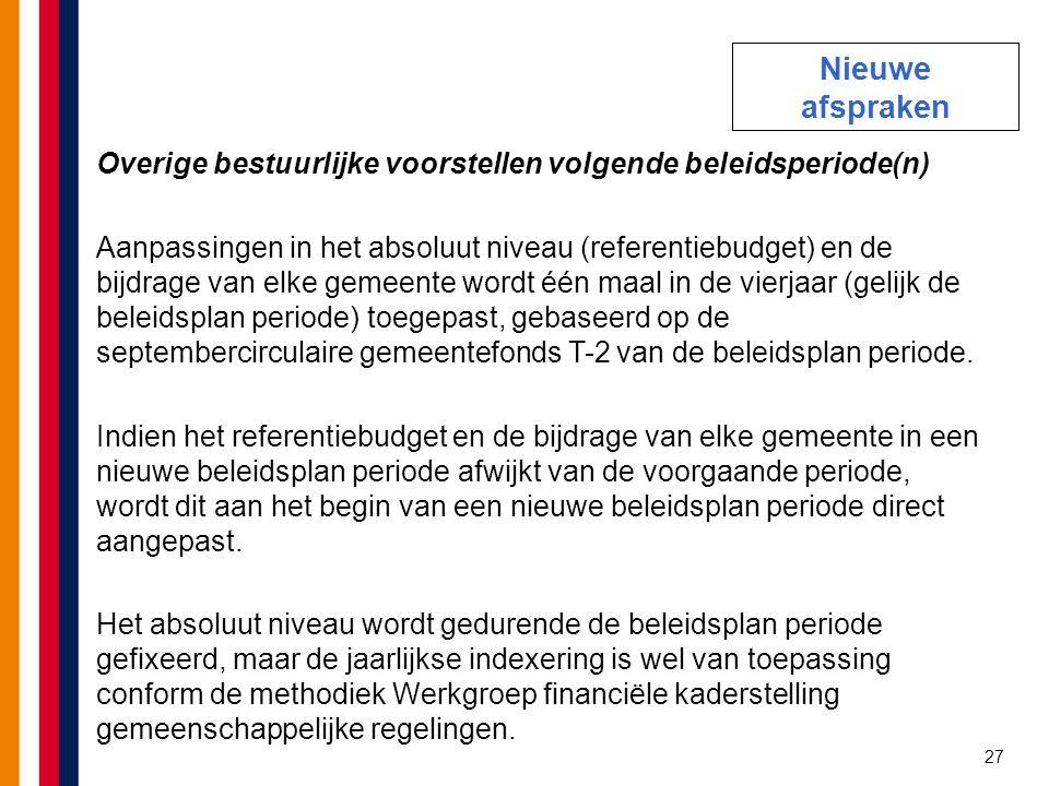 27 Overige bestuurlijke voorstellen volgende beleidsperiode(n) Aanpassingen in het absoluut niveau (referentiebudget) en de bijdrage van elke gemeente