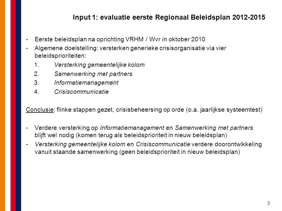 Input 1: evaluatie eerste Regionaal Beleidsplan 2012-2015 -Eerste beleidsplan na oprichting VRHM / Wvr in oktober 2010 -Algemene doelstelling: verster