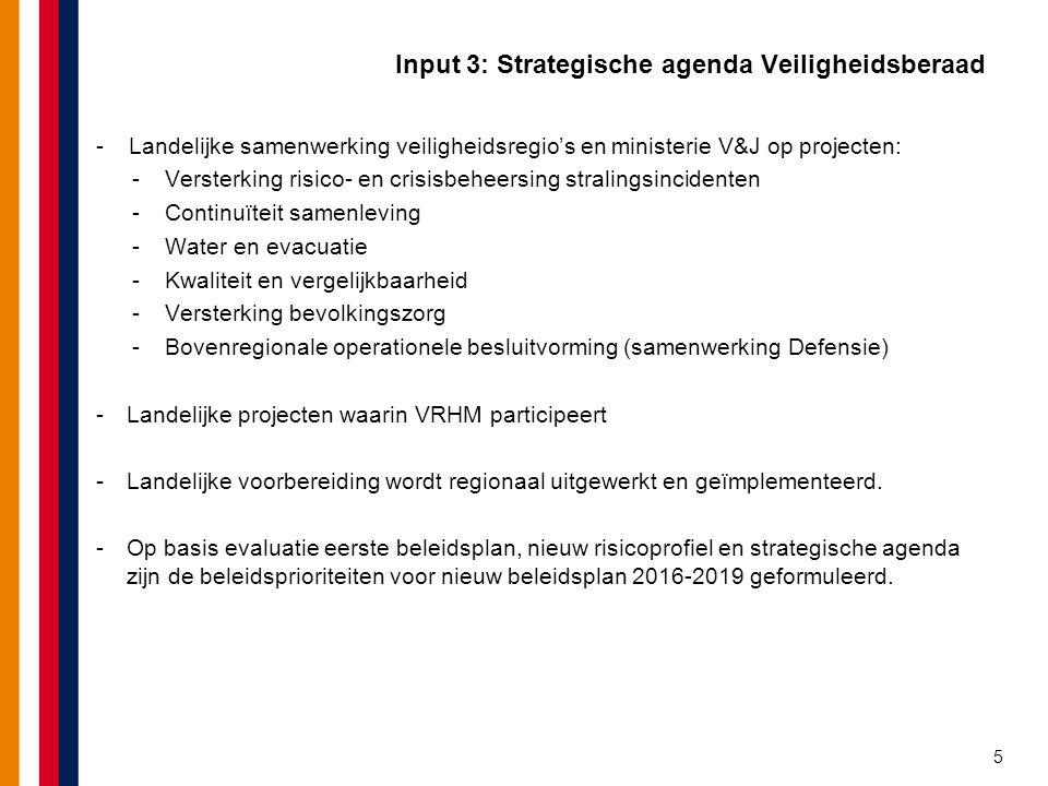 Input 3: Strategische agenda Veiligheidsberaad -Landelijke samenwerking veiligheidsregio's en ministerie V&J op projecten: -Versterking risico- en cri