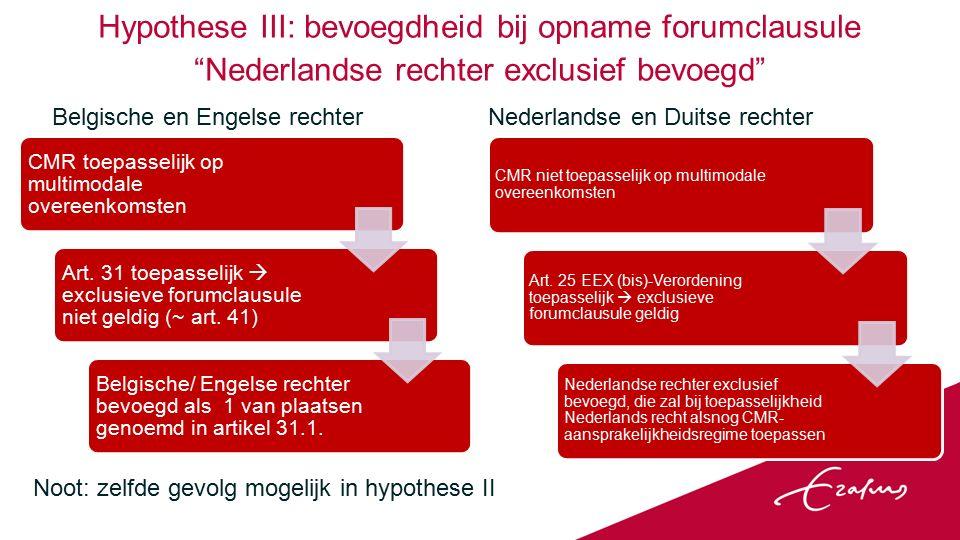 Hypothese III: bevoegdheid bij opname forumclausule Nederlandse rechter exclusief bevoegd Belgische en Engelse rechter CMR toepasselijk op multimodale overeenkomsten Art.