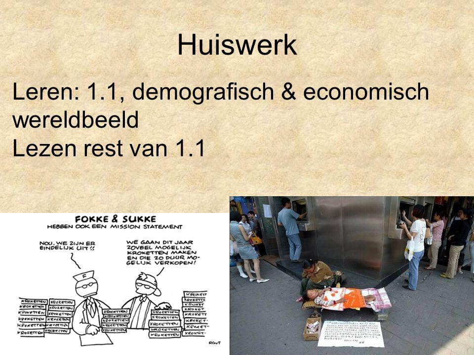 Huiswerk Leren: 1.1, demografisch & economisch wereldbeeld Lezen rest van 1.1