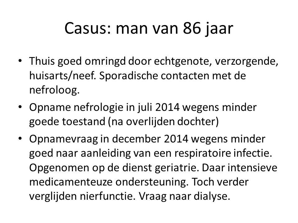 Casus: man van 86 jaar Thuis goed omringd door echtgenote, verzorgende, huisarts/neef.