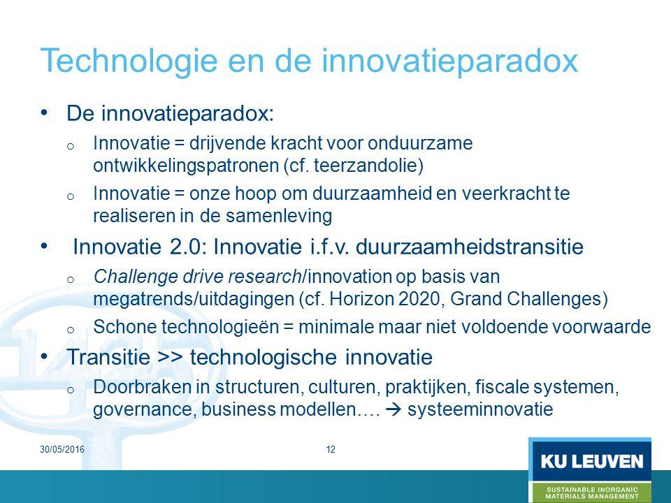 Technologie en de innovatieparadox De innovatieparadox: o Innovatie = drijvende kracht voor onduurzame ontwikkelingspatronen (cf.