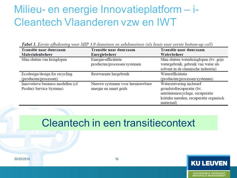 Milieu- en energie Innovatieplatform – i- Cleantech Vlaanderen vzw en IWT Cleantech in een transitiecontext 30/05/201616