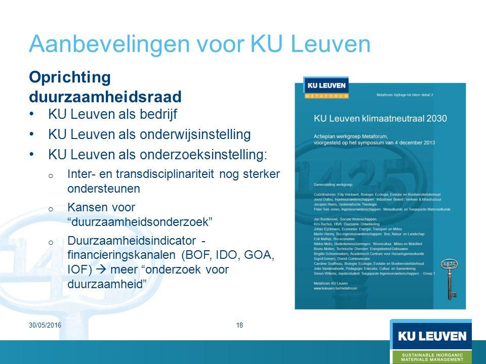 Aanbevelingen voor KU Leuven Oprichting duurzaamheidsraad KU Leuven als bedrijf KU Leuven als onderwijsinstelling KU Leuven als onderzoeksinstelling: o Inter- en transdisciplinariteit nog sterker ondersteunen o Kansen voor duurzaamheidsonderzoek o Duurzaamheidsindicator - financieringskanalen (BOF, IDO, GOA, IOF)  meer onderzoek voor duurzaamheid 30/05/201618