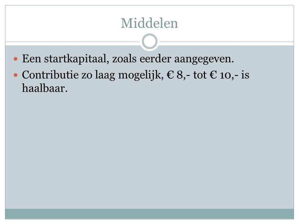 Middelen Een startkapitaal, zoals eerder aangegeven. Contributie zo laag mogelijk, € 8,- tot € 10,- is haalbaar.