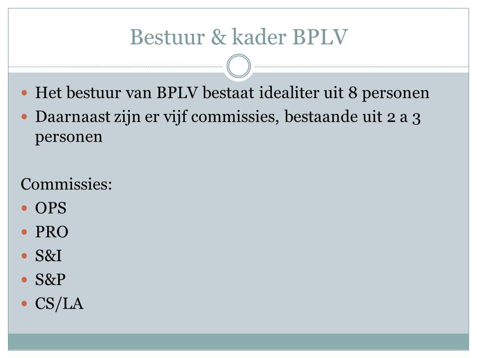 Bestuur & kader BPLV Het bestuur van BPLV bestaat idealiter uit 8 personen Daarnaast zijn er vijf commissies, bestaande uit 2 a 3 personen Commissies: