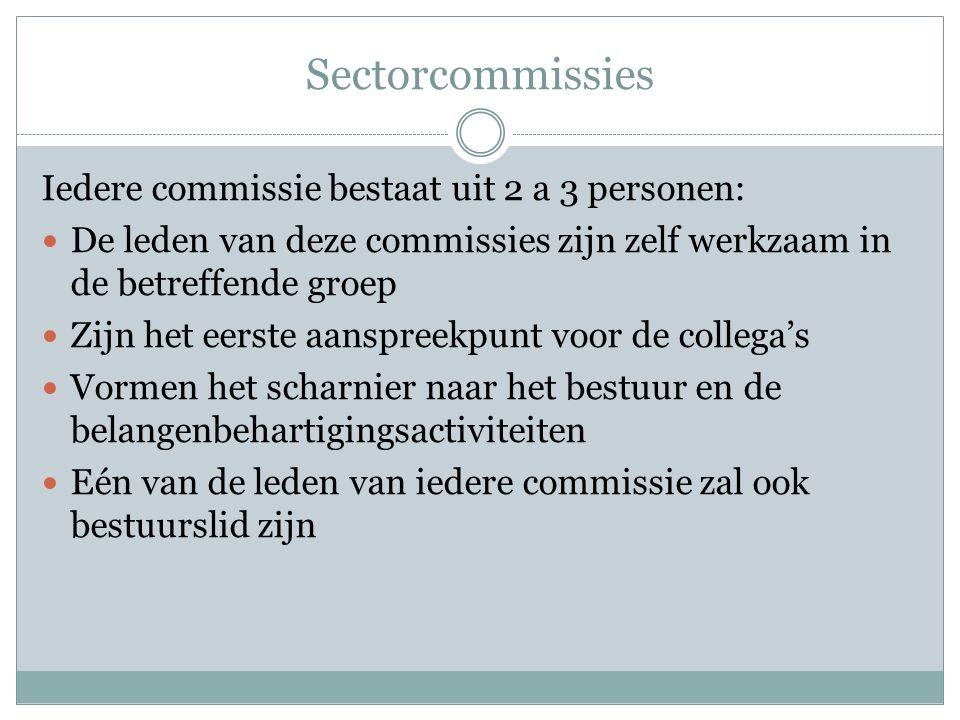 Sectorcommissies Iedere commissie bestaat uit 2 a 3 personen: De leden van deze commissies zijn zelf werkzaam in de betreffende groep Zijn het eerste