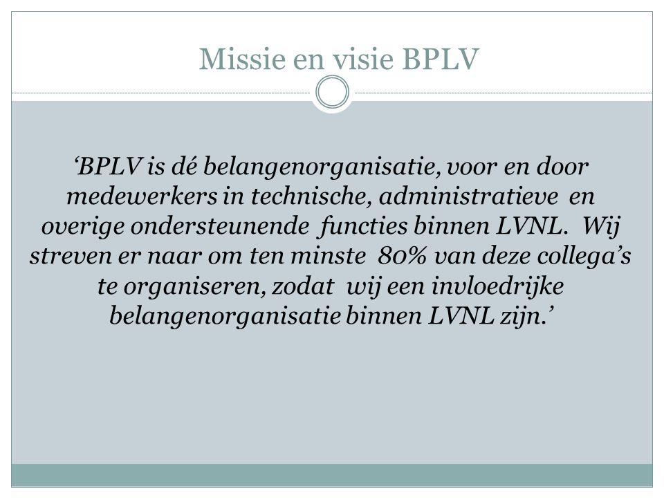 Missie en visie BPLV 'BPLV is dé belangenorganisatie, voor en door medewerkers in technische, administratieve en overige ondersteunende functies binne