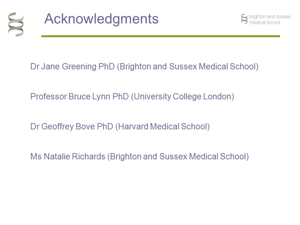 Acknowledgments Dr Jane Greening PhD (Brighton and Sussex Medical School) Professor Bruce Lynn PhD (University College London) Dr Geoffrey Bove PhD (H