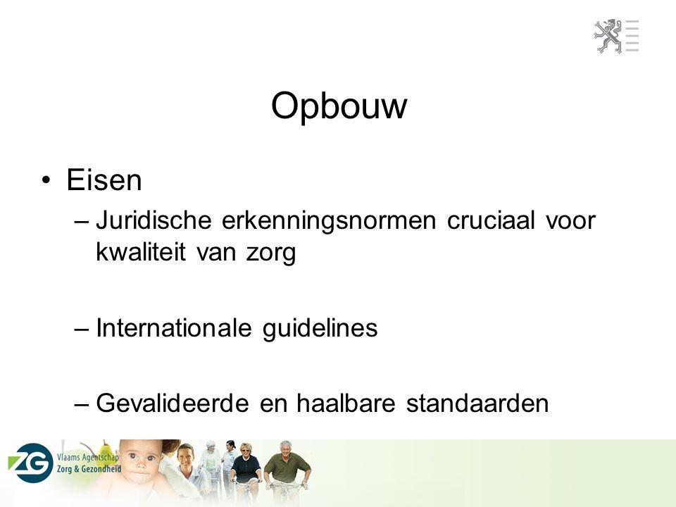 Opbouw Eisen –Juridische erkenningsnormen cruciaal voor kwaliteit van zorg –Internationale guidelines –Gevalideerde en haalbare standaarden