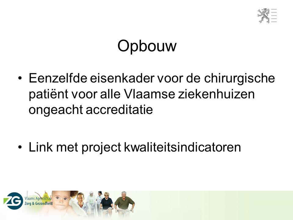 Opbouw Eenzelfde eisenkader voor de chirurgische patiënt voor alle Vlaamse ziekenhuizen ongeacht accreditatie Link met project kwaliteitsindicatoren