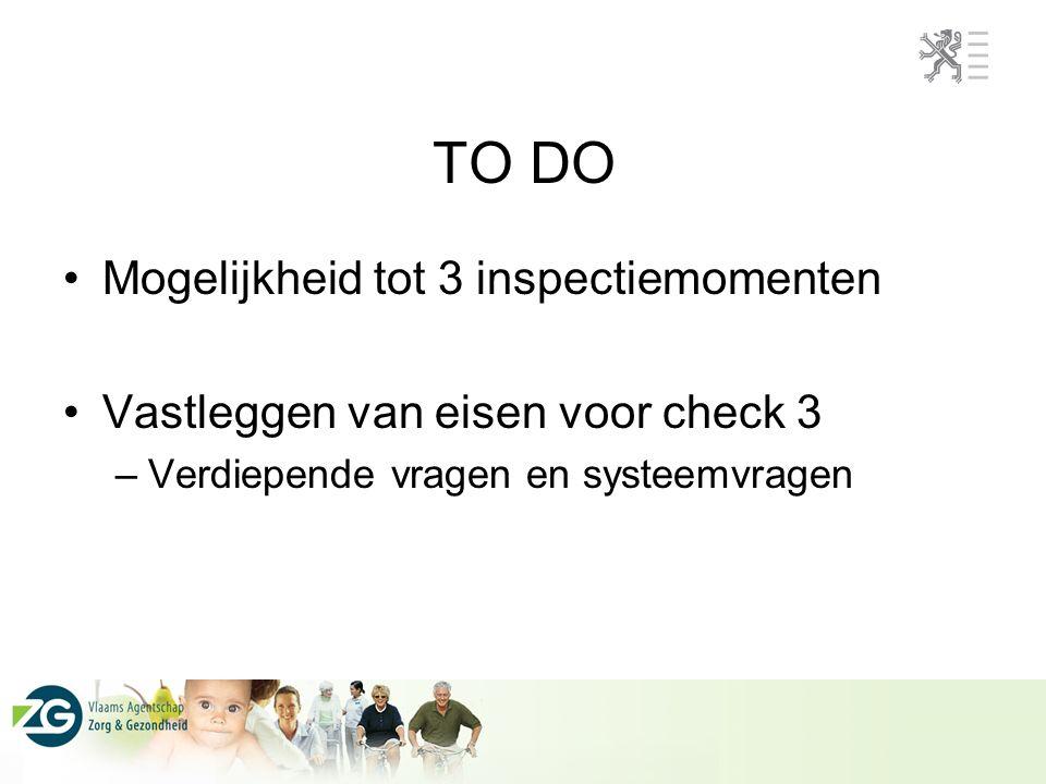 TO DO Mogelijkheid tot 3 inspectiemomenten Vastleggen van eisen voor check 3 –Verdiepende vragen en systeemvragen