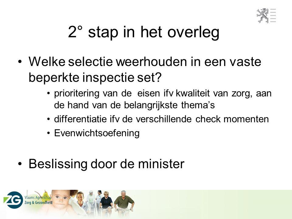 2° stap in het overleg Welke selectie weerhouden in een vaste beperkte inspectie set.
