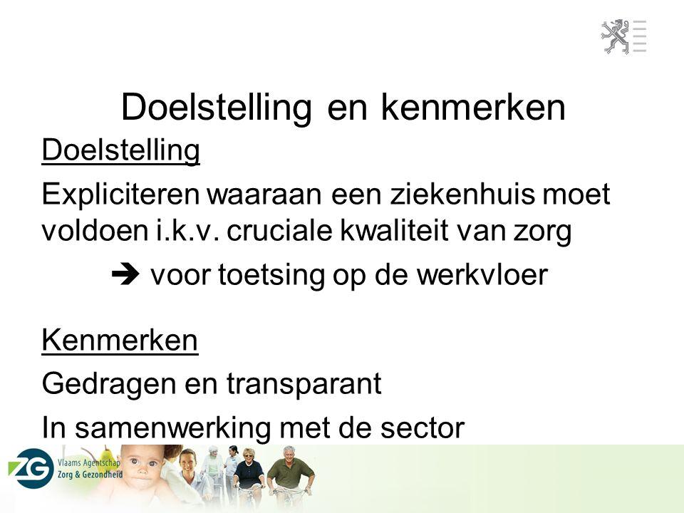 Doelstelling en kenmerken Doelstelling Expliciteren waaraan een ziekenhuis moet voldoen i.k.v.