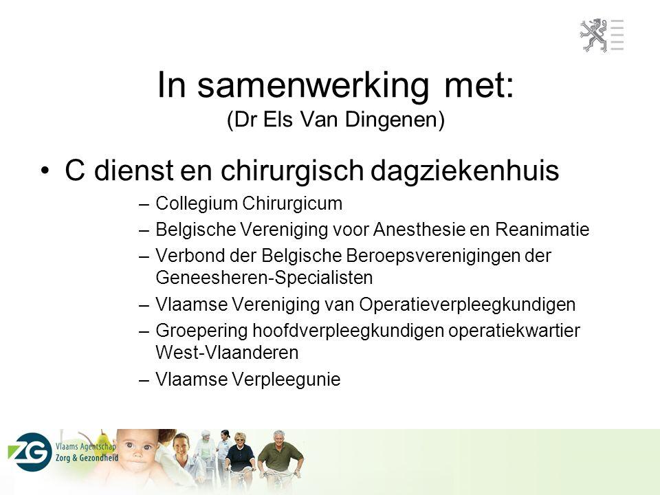 In samenwerking met: (Dr Els Van Dingenen) C dienst en chirurgisch dagziekenhuis –Collegium Chirurgicum –Belgische Vereniging voor Anesthesie en Reanimatie –Verbond der Belgische Beroepsverenigingen der Geneesheren-Specialisten –Vlaamse Vereniging van Operatieverpleegkundigen –Groepering hoofdverpleegkundigen operatiekwartier West-Vlaanderen –Vlaamse Verpleegunie