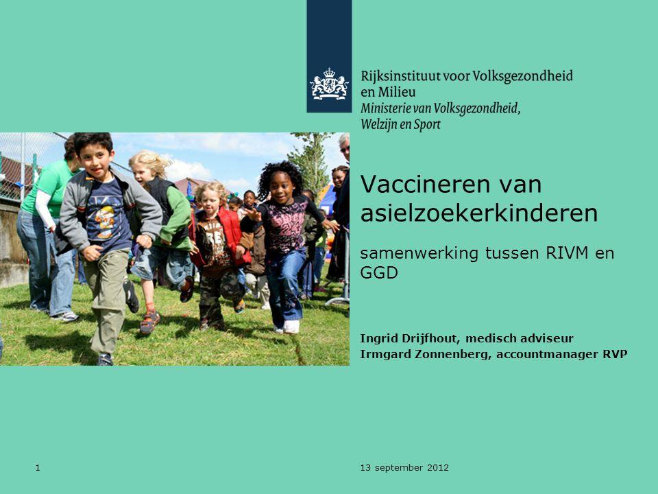 113 september 2012 Vaccineren van asielzoekerkinderen samenwerking tussen RIVM en GGD Ingrid Drijfhout, medisch adviseur Irmgard Zonnenberg, accountma