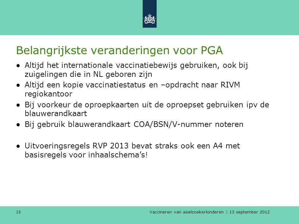 Vaccineren van asielzoekerkinderen | 13 september 2012 15 Belangrijkste veranderingen voor PGA ●Altijd het internationale vaccinatiebewijs gebruiken,