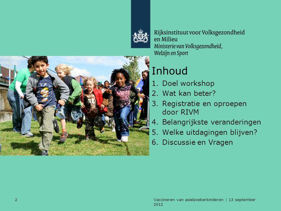 Vaccineren van asielzoekerkinderen | 13 september 2012 33 Doel van deze workshop Informeren over betere afstemming RIVM en GGD vaccineren asielzoekerkinderen 0-19 jaar: ●Protocol GGD aangepast ●Werkwijze RIVM aangepast en geüniformeerd bij het oproepen en registreren van vaccinaties.