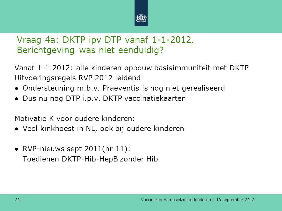 Vaccineren van asielzoekerkinderen | 13 september 2012 23 Vraag 4a: DKTP ipv DTP vanaf 1-1-2012. Berichtgeving was niet eenduidig? Vanaf 1-1-2012: all