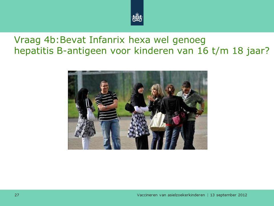 Vaccineren van asielzoekerkinderen | 13 september 2012 27 Vraag 4b:Bevat Infanrix hexa wel genoeg hepatitis B-antigeen voor kinderen van 16 t/m 18 jaa