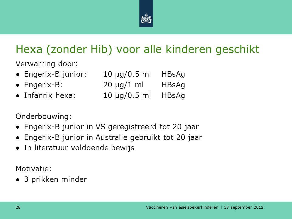 Vaccineren van asielzoekerkinderen | 13 september 2012 28 Hexa (zonder Hib) voor alle kinderen geschikt Verwarring door: ●Engerix-B junior: 10 µg/0.5