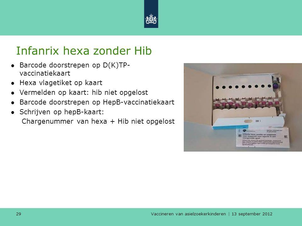 Vaccineren van asielzoekerkinderen | 13 september 2012 29 Infanrix hexa zonder Hib ●Barcode doorstrepen op D(K)TP- vaccinatiekaart ●Hexa vlagetiket op