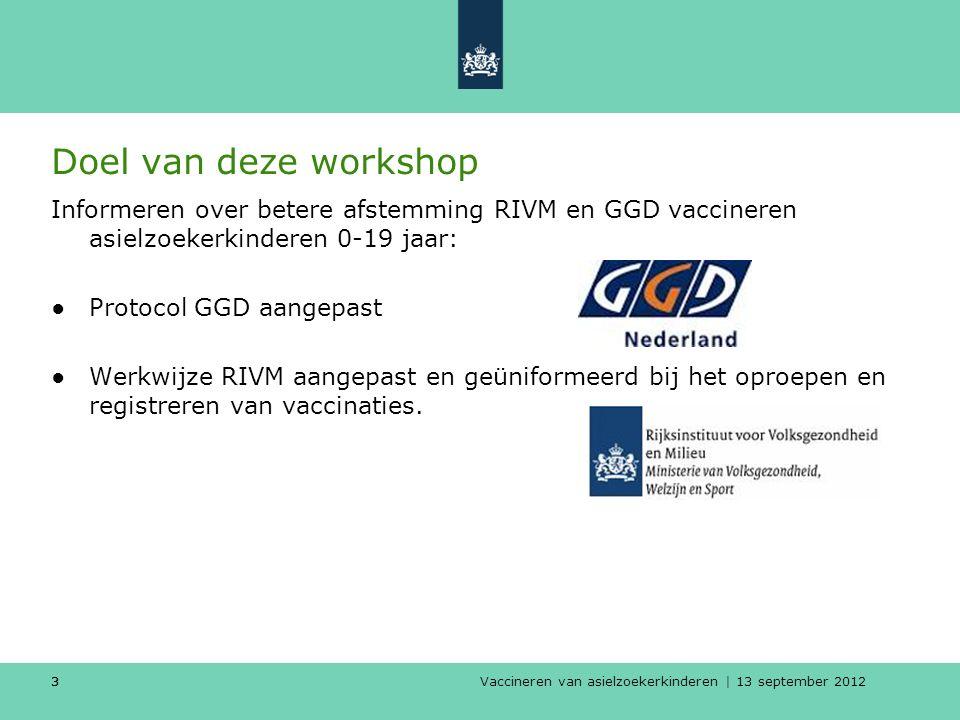 Vaccineren van asielzoekerkinderen | 13 september 2012 33 Doel van deze workshop Informeren over betere afstemming RIVM en GGD vaccineren asielzoekerk