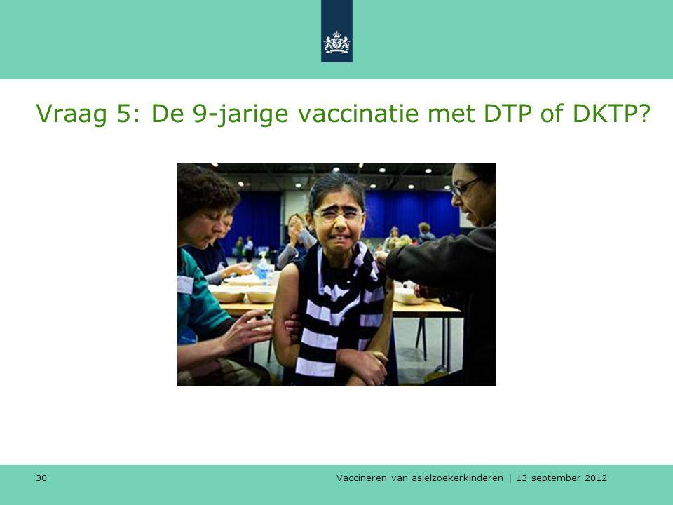 Vaccineren van asielzoekerkinderen | 13 september 2012 30 Vraag 5: De 9-jarige vaccinatie met DTP of DKTP?