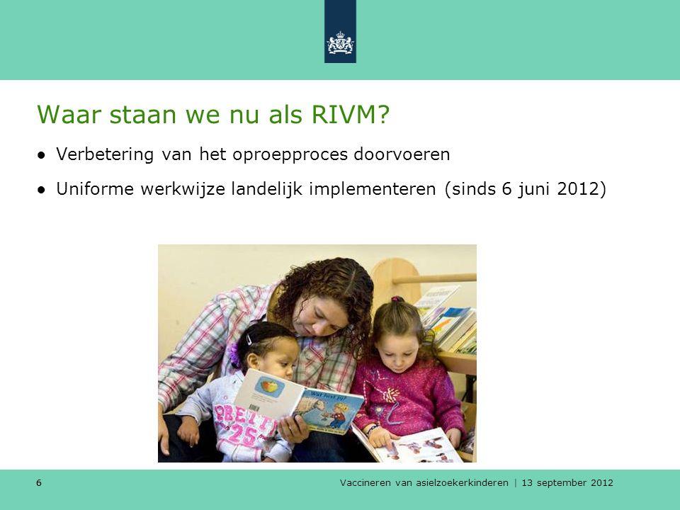 Vaccineren van asielzoekerkinderen | 13 september 2012 66 Waar staan we nu als RIVM? ●Verbetering van het oproepproces doorvoeren ●Uniforme werkwijze