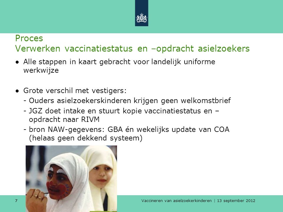 Vaccineren van asielzoekerkinderen | 13 september 2012 77 Proces Verwerken vaccinatiestatus en –opdracht asielzoekers ●Alle stappen in kaart gebracht