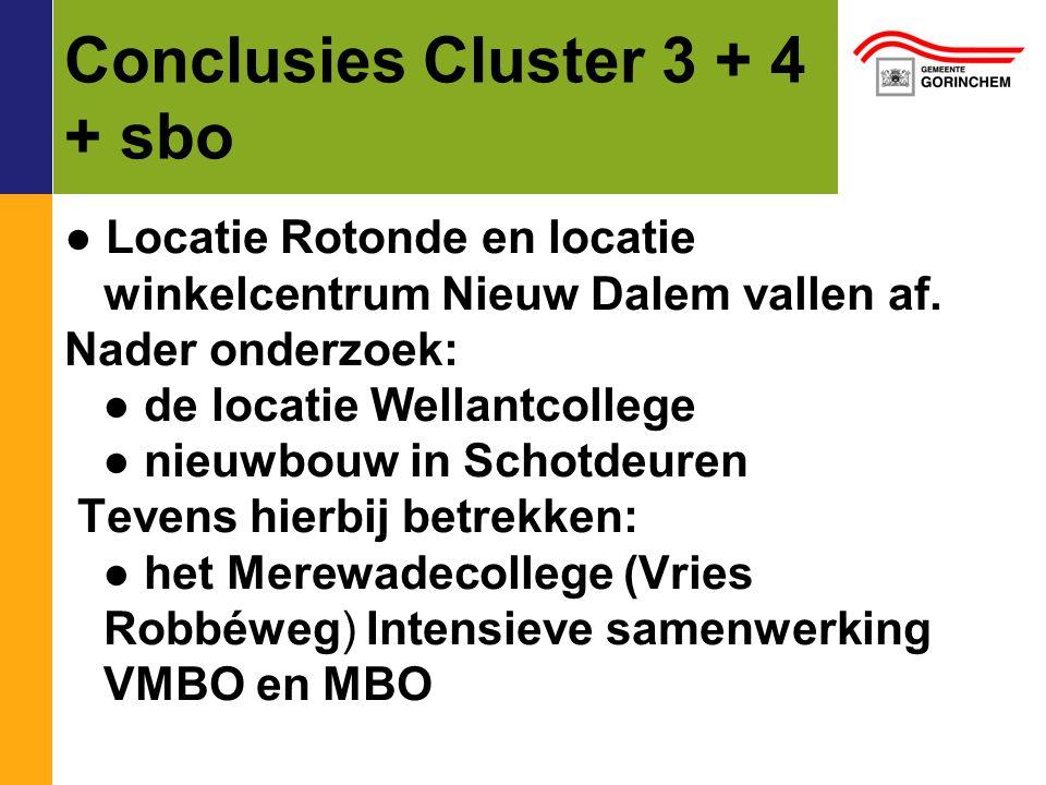 Conclusies Cluster 3 + 4 + sbo ● Locatie Rotonde en locatie winkelcentrum Nieuw Dalem vallen af. Nader onderzoek: ● de locatie Wellantcollege ● nieuwb