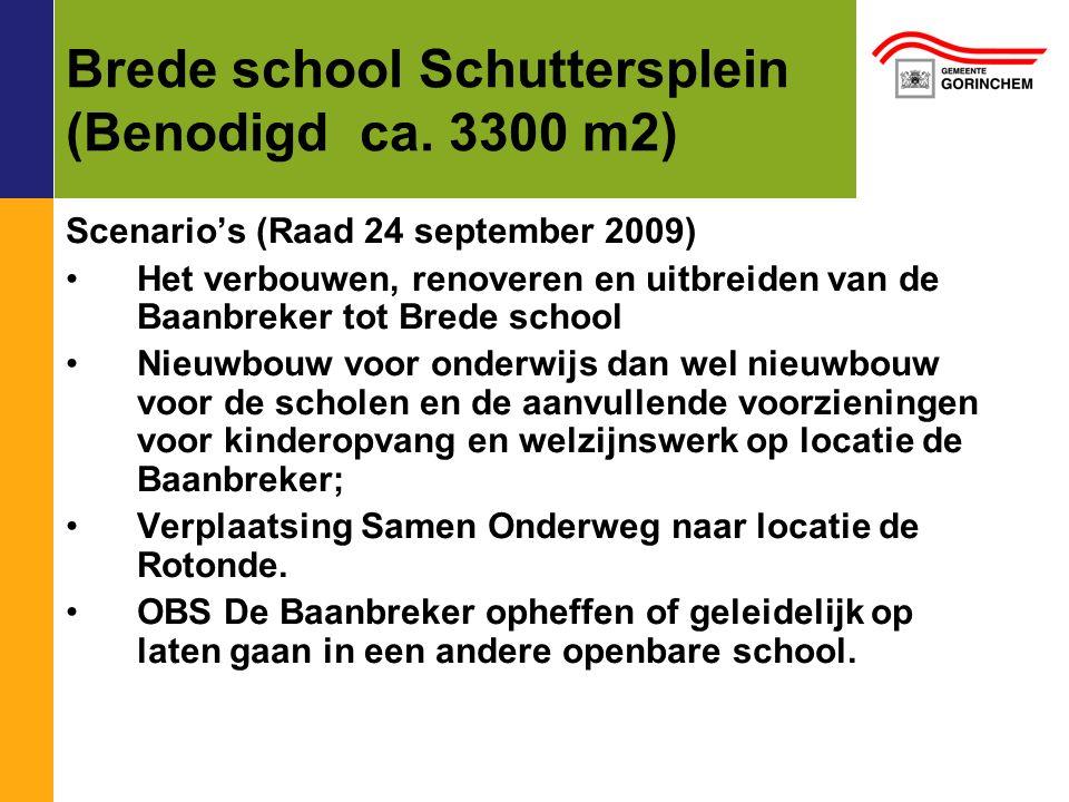 Brede school Schuttersplein (Benodigd ca. 3300 m2) Scenario's (Raad 24 september 2009) Het verbouwen, renoveren en uitbreiden van de Baanbreker tot Br
