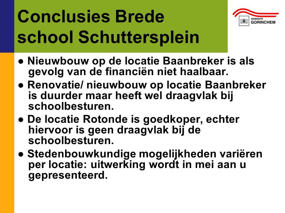 Conclusies Brede school Schuttersplein ● Nieuwbouw op de locatie Baanbreker is als gevolg van de financiën niet haalbaar. ● Renovatie/ nieuwbouw op lo