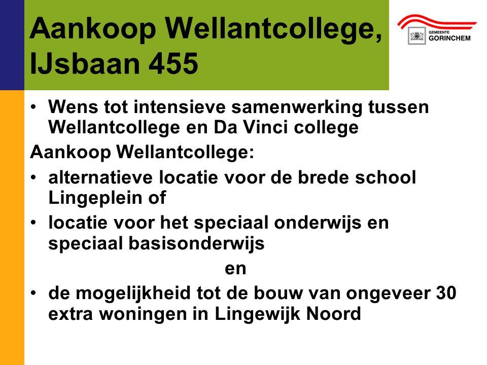 Aankoop Wellantcollege, IJsbaan 455 Wens tot intensieve samenwerking tussen Wellantcollege en Da Vinci college Aankoop Wellantcollege: alternatieve lo