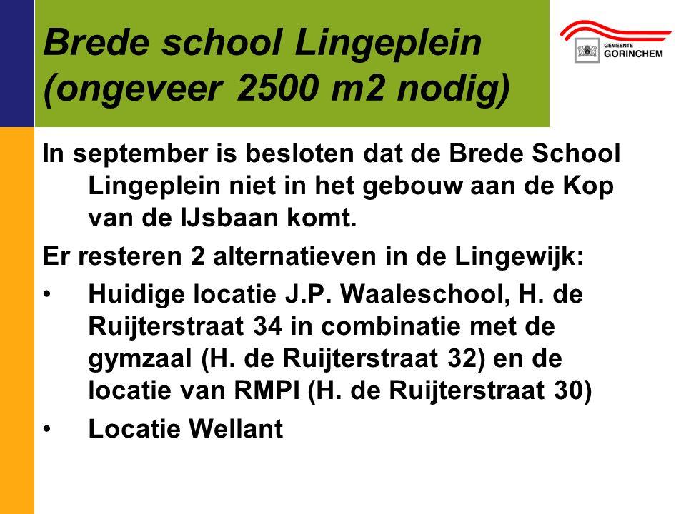 Brede school Lingeplein (ongeveer 2500 m2 nodig) In september is besloten dat de Brede School Lingeplein niet in het gebouw aan de Kop van de IJsbaan komt.