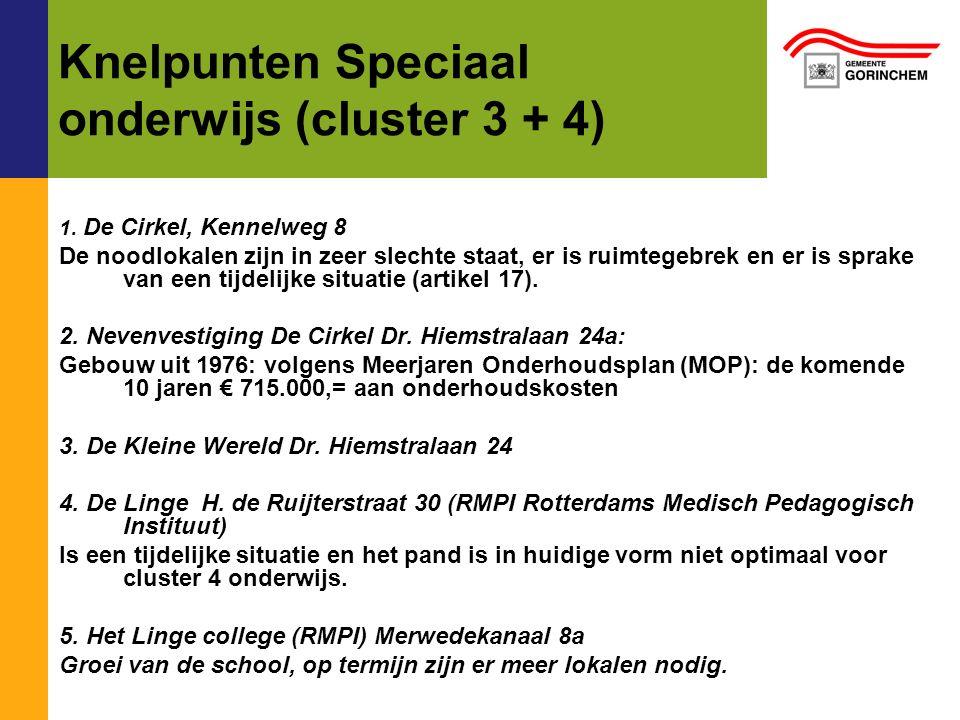 Knelpunten Speciaal onderwijs (cluster 3 + 4) 1.