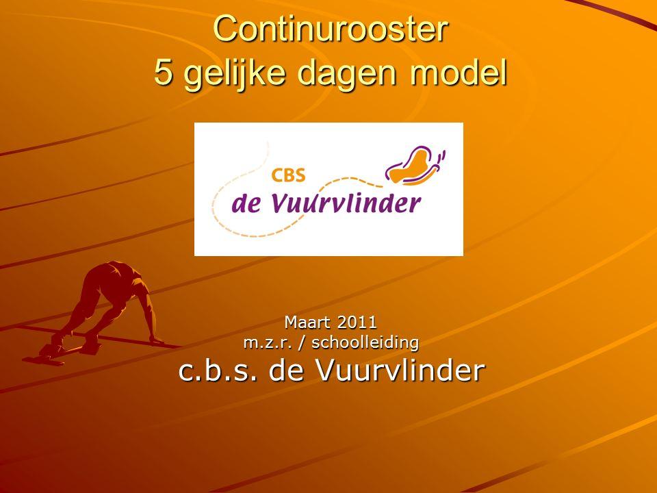 Continurooster 5 gelijke dagen model Maart 2011 m.z.r. / schoolleiding c.b.s. de Vuurvlinder