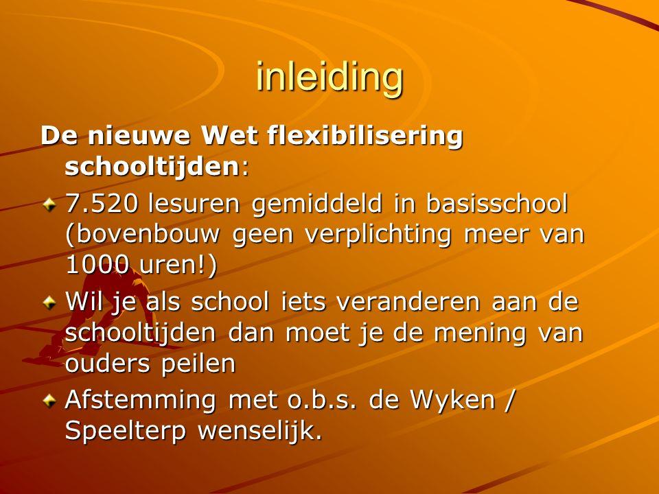 inleiding De nieuwe Wet flexibilisering schooltijden: 7.520 lesuren gemiddeld in basisschool (bovenbouw geen verplichting meer van 1000 uren!) Wil je