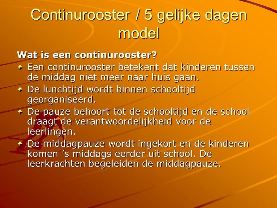Continurooster / 5 gelijke dagen model Wat is een continurooster? Een continurooster betekent dat kinderen tussen de middag niet meer naar huis gaan.