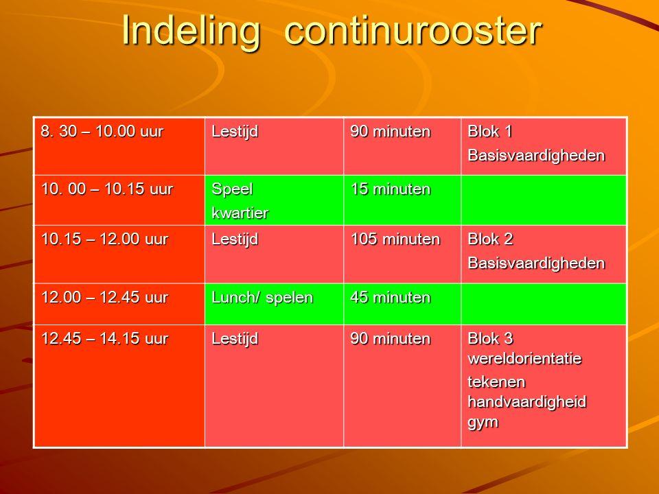 Indeling continurooster 8. 30 – 10.00 uur Lestijd 90 minuten Blok 1 Basisvaardigheden 10. 00 – 10.15 uur Speelkwartier 15 minuten 10.15 – 12.00 uur Le