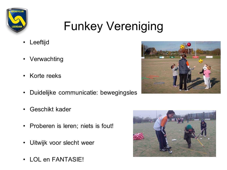 Funkey Vereniging Leeftijd Verwachting Korte reeks Duidelijke communicatie: bewegingsles Geschikt kader Proberen is leren; niets is fout! Uitwijk voor
