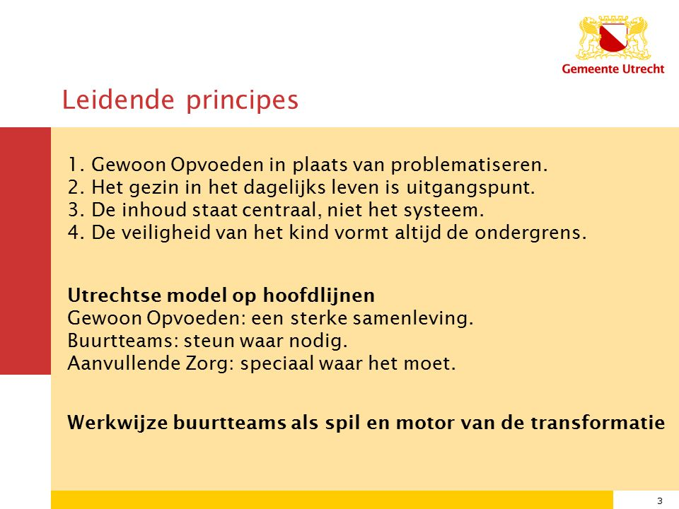 3 Leidende principes 1. Gewoon Opvoeden in plaats van problematiseren.