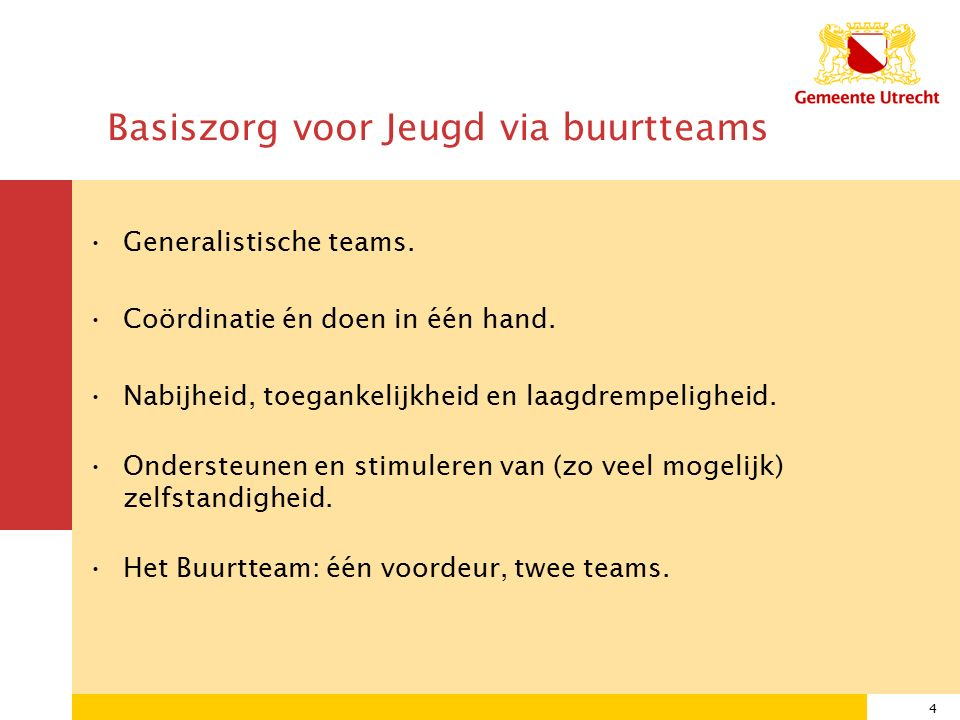 4 Basiszorg voor Jeugd via buurtteams Generalistische teams.