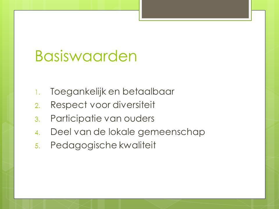 Basiswaarden 1. Toegankelijk en betaalbaar 2. Respect voor diversiteit 3. Participatie van ouders 4. Deel van de lokale gemeenschap 5. Pedagogische kw