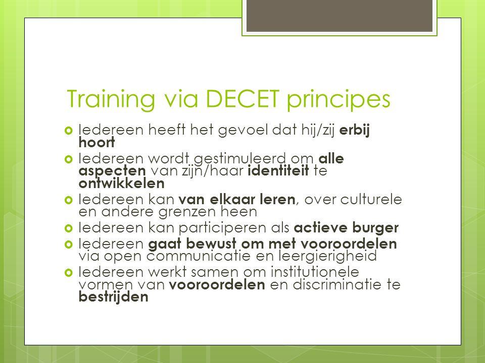 Training via DECET principes  Iedereen heeft het gevoel dat hij/zij erbij hoort  Iedereen wordt gestimuleerd om alle aspecten van zijn/haar identite