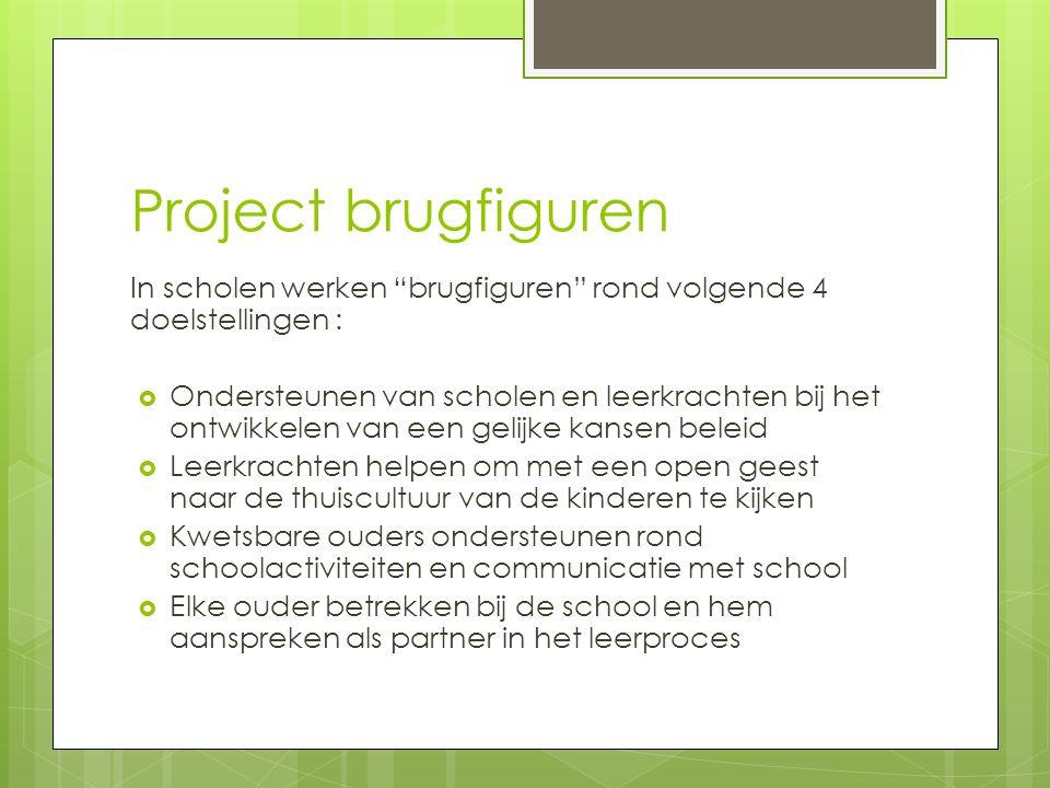 """Project brugfiguren In scholen werken """"brugfiguren"""" rond volgende 4 doelstellingen :  Ondersteunen van scholen en leerkrachten bij het ontwikkelen va"""