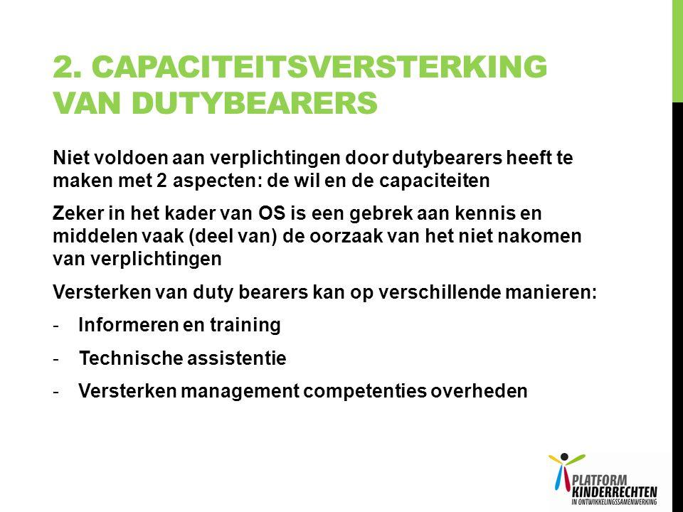 2. CAPACITEITSVERSTERKING VAN DUTYBEARERS Niet voldoen aan verplichtingen door dutybearers heeft te maken met 2 aspecten: de wil en de capaciteiten Ze