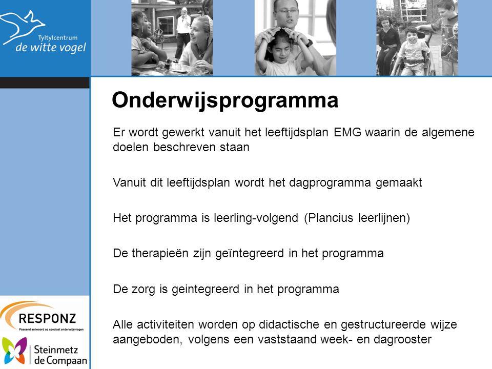 Onderwijsprogramma Er wordt gewerkt vanuit het leeftijdsplan EMG waarin de algemene doelen beschreven staan Vanuit dit leeftijdsplan wordt het dagprog