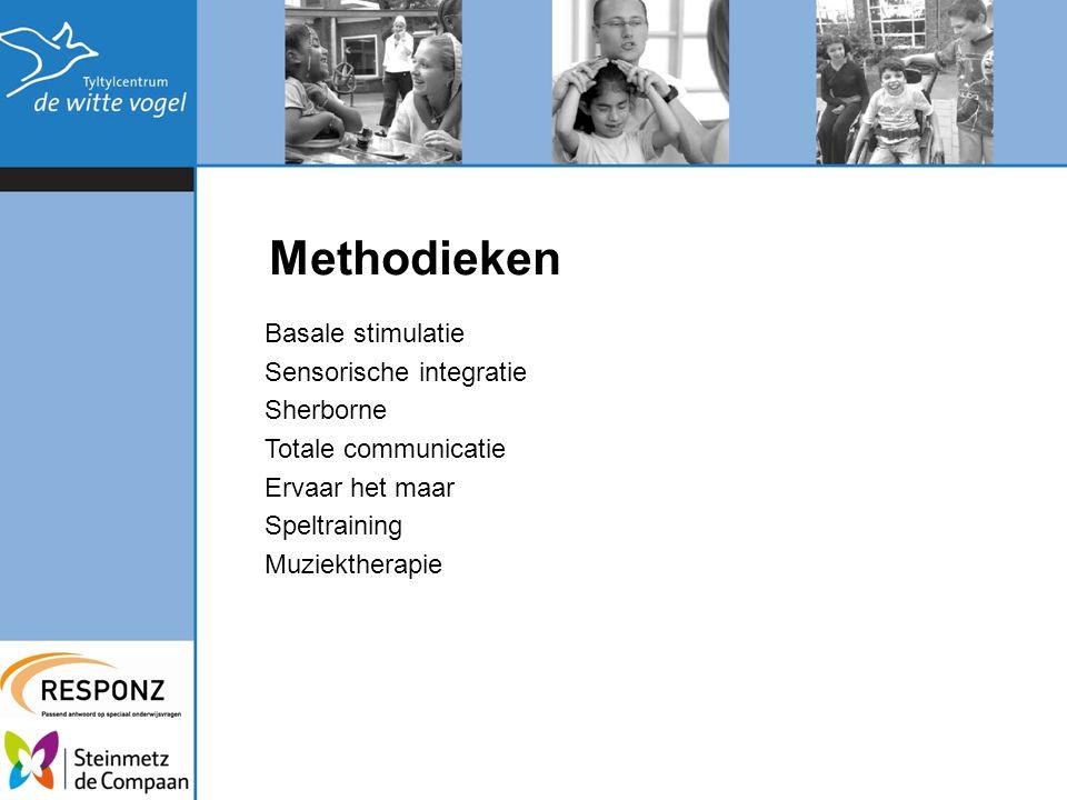 Methodieken Basale stimulatie Sensorische integratie Sherborne Totale communicatie Ervaar het maar Speltraining Muziektherapie